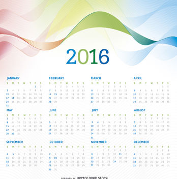 2016 calendar with colorful background - vector #305659 gratis
