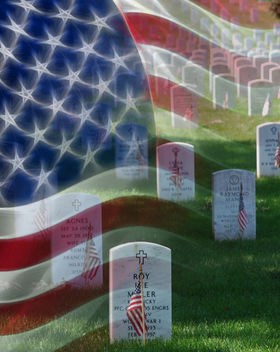 Memorial Day Free Download Poster, Graves at Arlington National Cemetery, American Flag, Veterans Day Holiday - image #308389 gratis