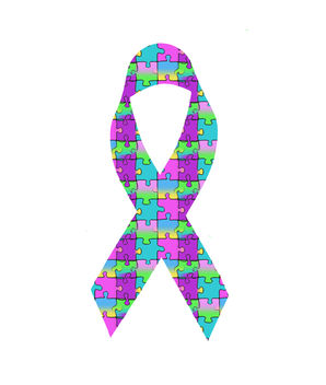 Autism Awareness Ribbon, Colorful Puzzle Pieces, Free Creative Commons Public Domain Download - Free image #308399