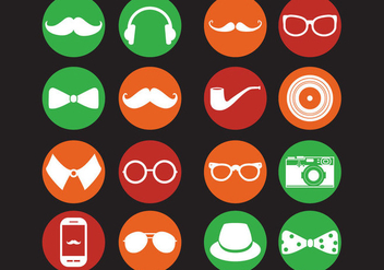 Retro Hipster Icons - Free vector #317449
