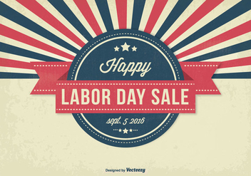 Retro Style Labor Day Sale Illustration - Free vector #317499