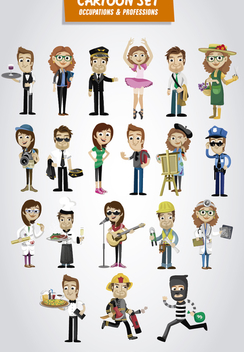 Occupations and Professions Cartoon set - vector gratuit #317729