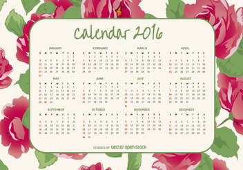 2016 calendar with roses - vector gratuit #317739