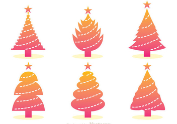 Gradation Christmas Tree Icons - Free vector #326659