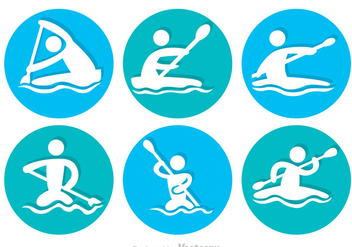 River Rafting Circle Icons - vector gratuit #326799