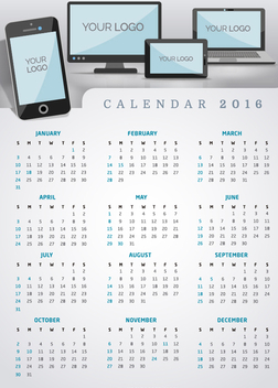 Calendar 2016 multiplatform app or website - vector #327189 gratis