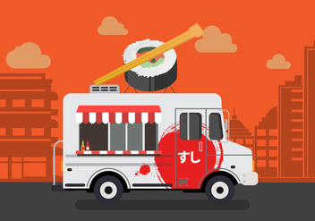 Vector Sushi Truck - Free vector #327619