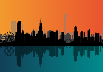 Vector Chicago Night Skyline - Kostenloses vector #327659