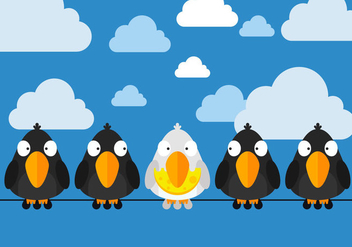 Free Birds Sittings On Wire Vector - Free vector #327929