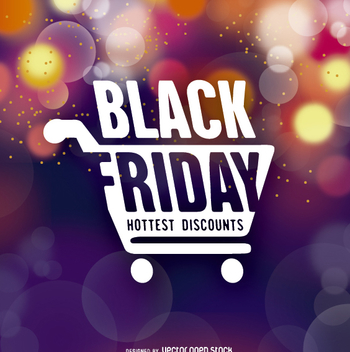 Black Friday symbol over bokeh background - бесплатный vector #328029