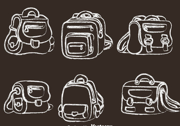 School Bag Chalk Drawn Icons - vector gratuit #328209