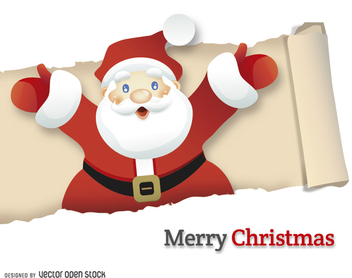 Santa Claus going out of ripped paper - Free vector #328369