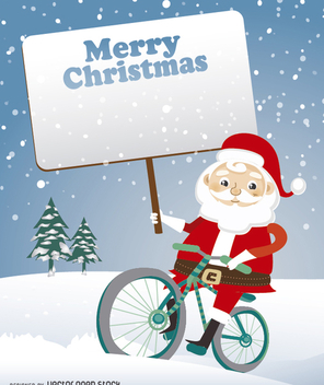 Santa Claus on bike with signboard - Free vector #328379