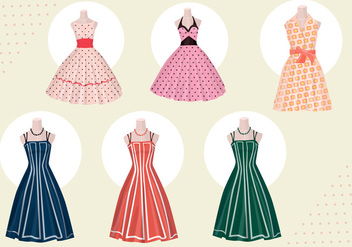 Women dress vectors from 50s - Free vector #328689