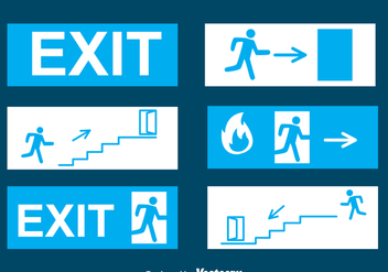 Emergency Exit Blue Sign Vectors - бесплатный vector #328709