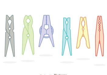 Clothespin Soft Colors Icons - vector gratuit #328769