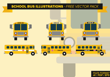 School Bus Illustrations Free Vector Pack - vector gratuit #328899