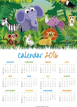 Animal Children 2016 calendar - бесплатный vector #328969