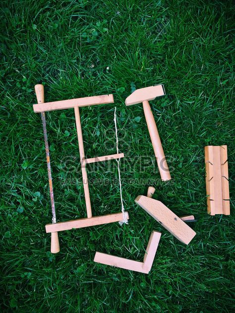wooden toy tools on grass - Free image #329169