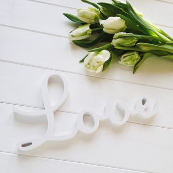 Tulips and word Love on white background - Free image #329289