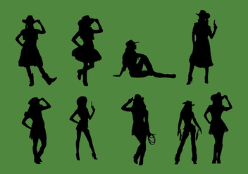 Cowgirl Silhouette Vector Set - бесплатный vector #329329