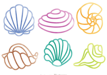 Pearl Shell Colorful Outline Set - Free vector #329339