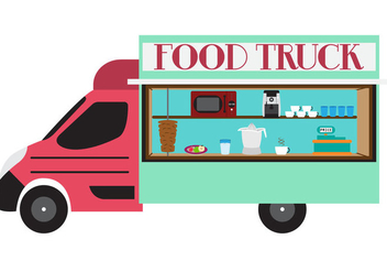 Illustration of Food Truck in Vector - vector gratuit #329429