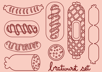 Bratwurst and Sausage Line Icon Set - vector #329449 gratis