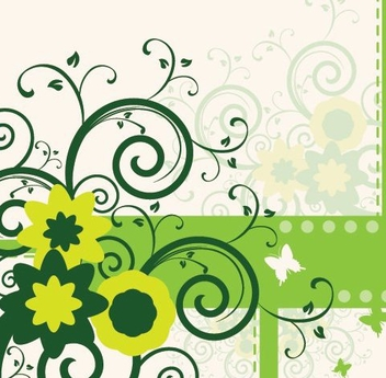 Swirling Printed Floral Design - Free vector #329589