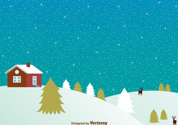 Snowy night with house background - vector gratuit #329709