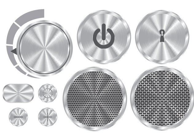 Brushed Aluminum Vector Buttons - Free vector #330119