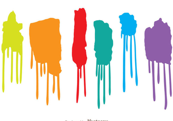 Colorful Paint Drip Set - vector gratuit #330549