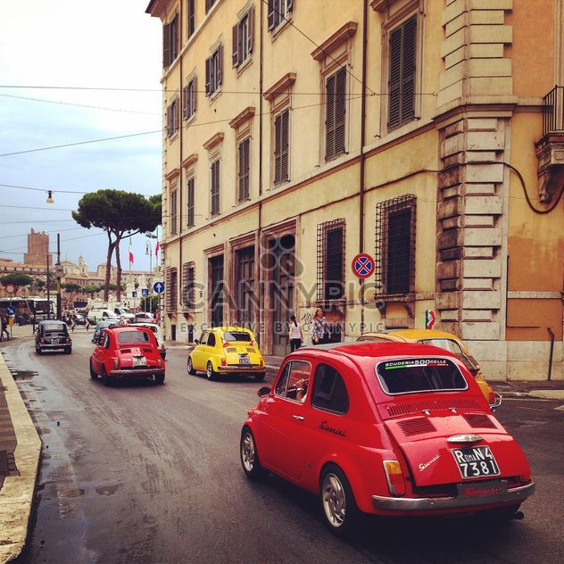 Colored Fiat cars on the road in the city, Italy - Free image #331919