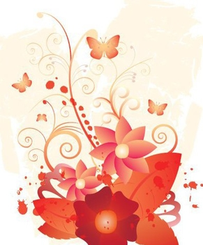 Red Swirling Flower Plant Butterflies - vector gratuit #332499