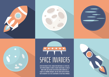 Free Flat Space Landscape Vector Background - Free vector #332679