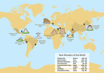 Wonders Of The World Map Vector - Free vector #332979