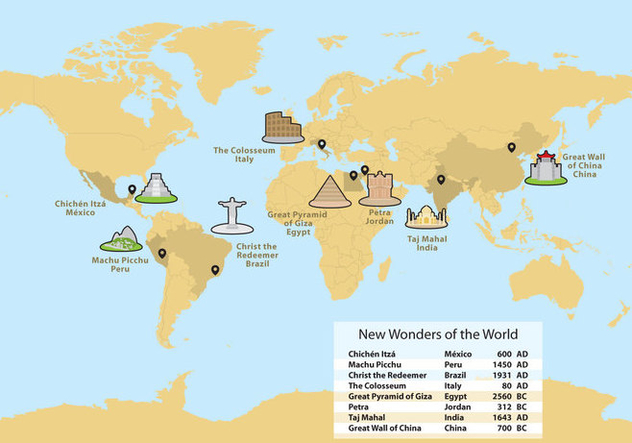 Wonders of the world map vector free vector download 332979 cannypic wonders of the world map vector free vector gumiabroncs Images