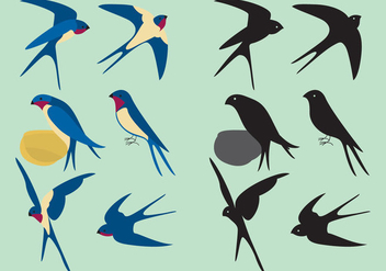 Colorful Swallows - vector gratuit #332989