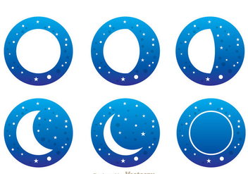 Moon With Stars Icons - vector gratuit #333039