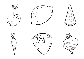 Free Fruit and Veggie Coloring Pages Vector Illustration - Free vector #333339