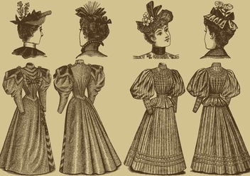 Old Style Dresses - vector gratuit #333349
