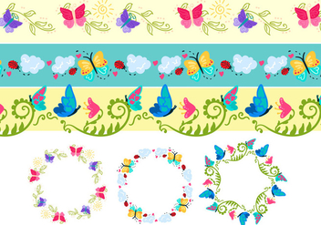 Colorful Butterfly Vectors - Free vector #333389