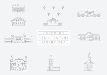 Free Vector Collection of Linear Icons and Illustrations with Buildings - Free vector #333509