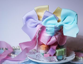 Colorful Refined sugarcubes with ribbons - Free image #333569