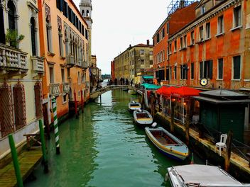 Gondolas on canal in Venice - Free image #333679