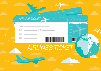 Airlines Ticket Vector Background - vector gratuit #333889