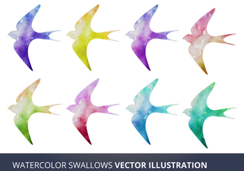 Watercolor Vector Swallows - vector gratuit #333909