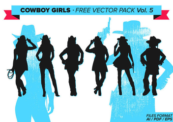 Cowboy Girls Silhouette Free Vector Pack Vol. 5 - Free vector #333989
