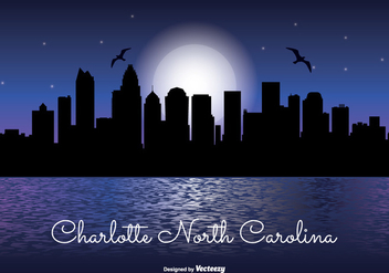 Charlotte North Carolina Night Skyline - vector gratuit #334099