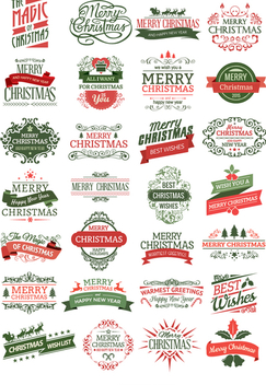 28 Christmas badges - Free vector #334129